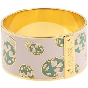 Alexander McQueen skull bangle pink and turquoise